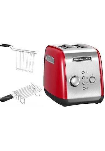 KitchenAid Toaster »5KMT221EER mit Brötchenaufsatz und Sandwichzange«, für 2 Scheiben, 1100 Watt kaufen