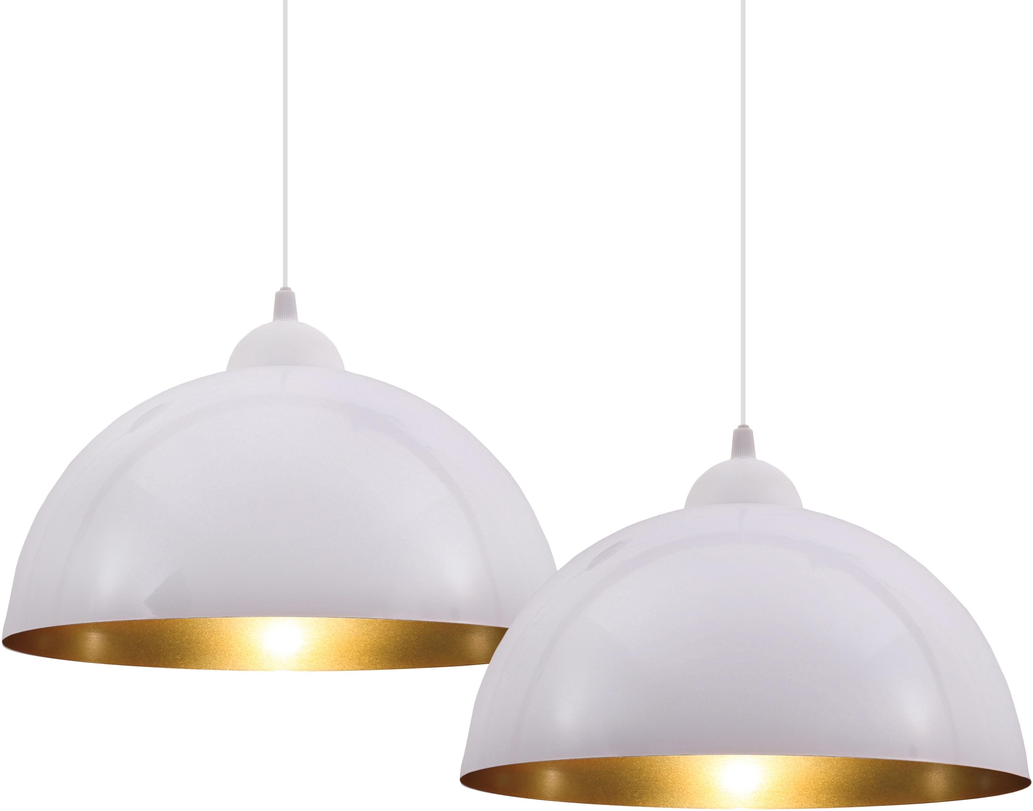 B.K.Licht Pendelleuchte Auriga, E27, 2 St., Design Hängelampe Hängeleuchte weiß-gold Wohnzimmer Esszimmer E27