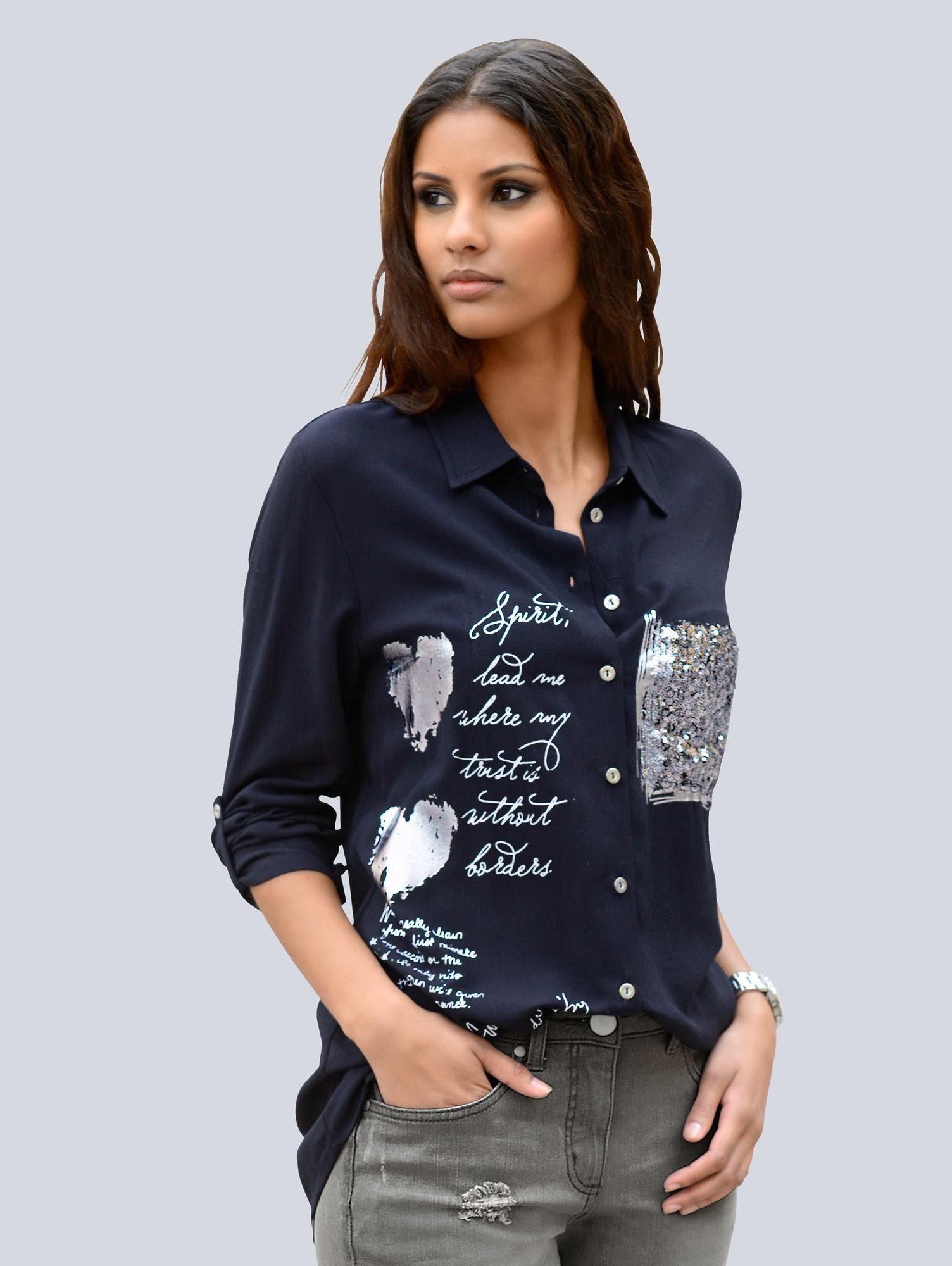 Alba Moda Bluse mit Pailletten und Folienprint