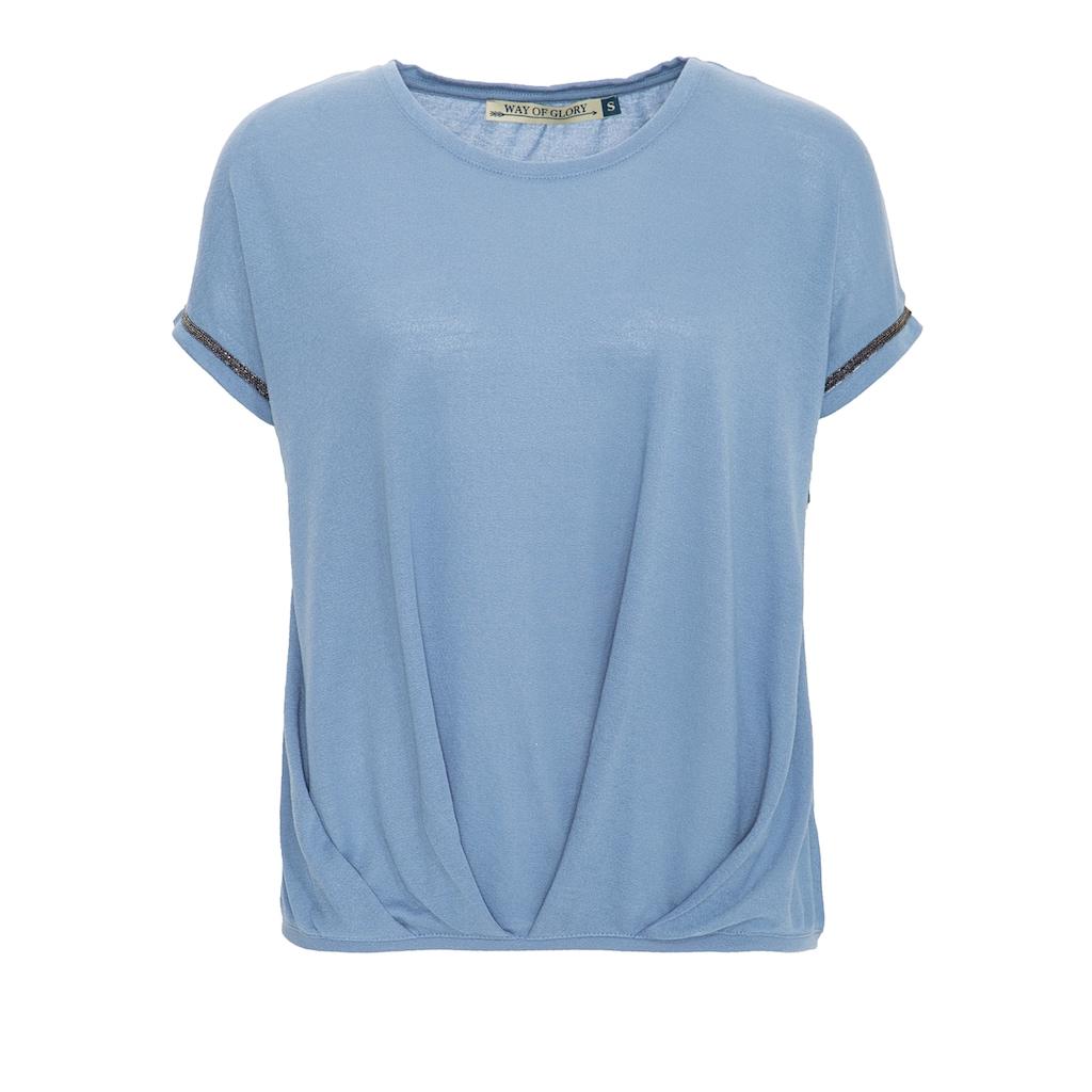 Way of Glory Oversize-Shirt, mit Falten am Saum und Ziersteinen