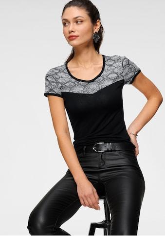 Melrose Rundhalsshirt, mit Mesh in Animal-Optik - NEUE KOLLEKTION kaufen