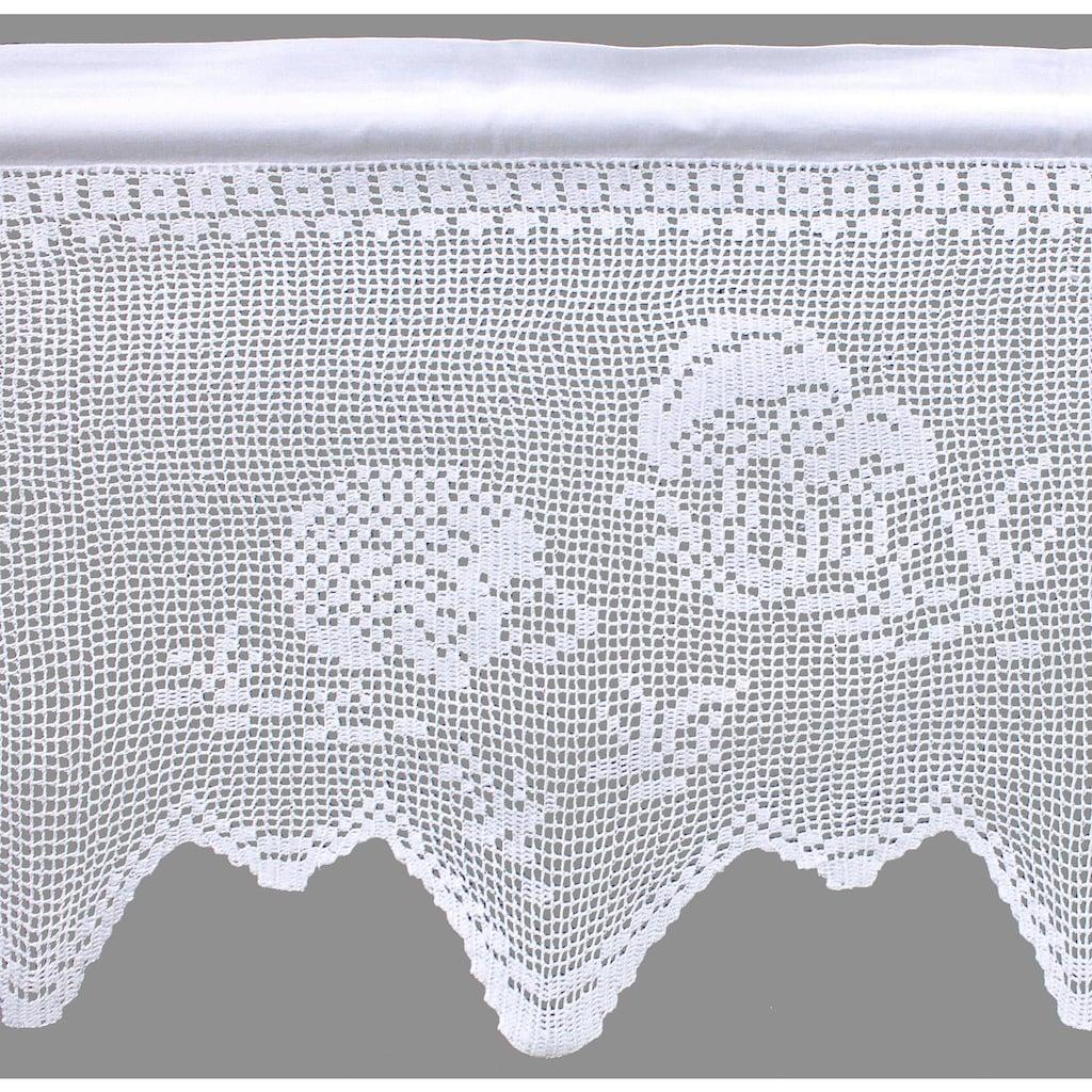HOSSNER - ART OF HOME DECO Querbehang »Igel«, handgehäkelte Spitze, weiß, Baumwolle