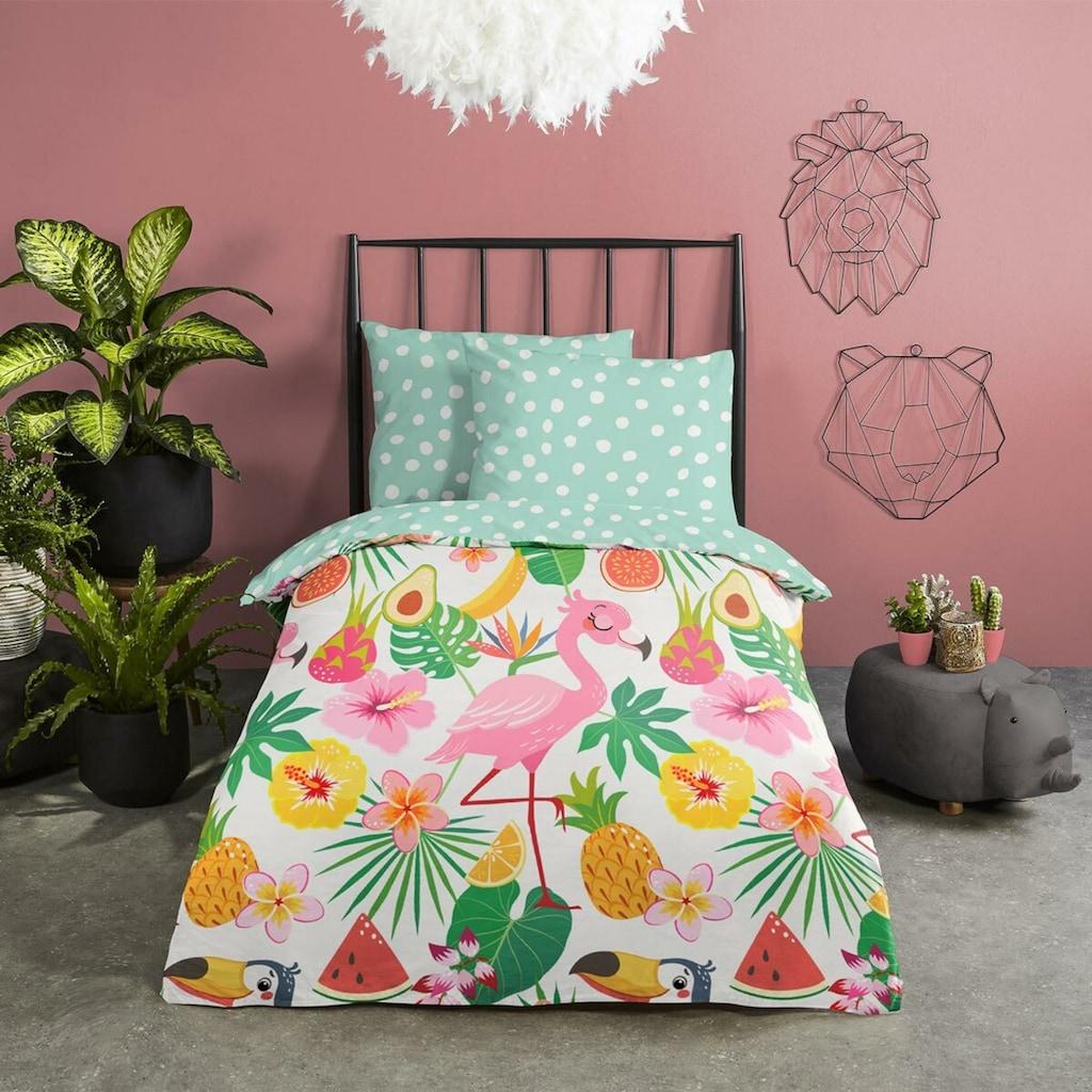 TRAUMSCHLAF Jugendbettwäsche »Flamingo«, aus glatter 100% Baumwolle