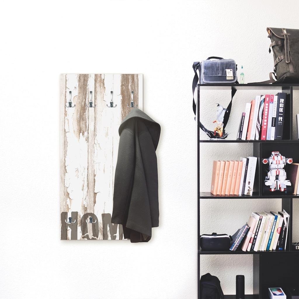 Artland Garderobe »Home«, platzsparende Wandgarderobe aus Holz mit 6 Haken, geeignet für kleinen, schmalen Flur, Flurgarderobe
