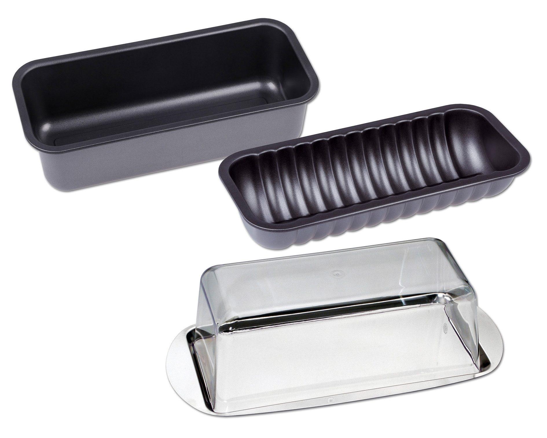 CHG Backform, (Set, 4 St.), Servier-/Frischhalte-Set schwarz Backform Backformen Backbleche Kochen Backen Haushaltswaren