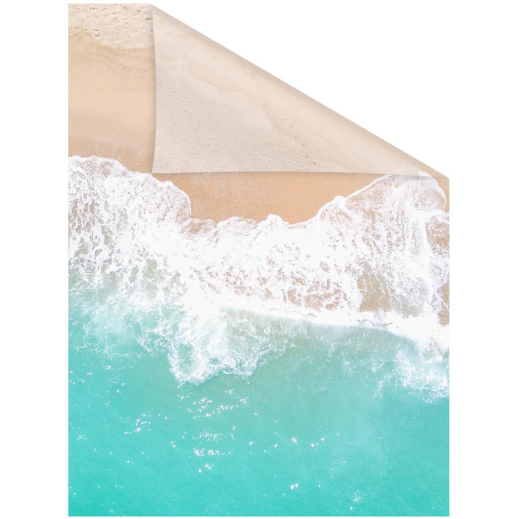 LICHTBLICK ORIGINAL Fensterfolie »Fensterfolie selbstklebend, Sichtschutz, The Beach - Türkis Beige«, 1 St., blickdicht, glattstatisch haftend