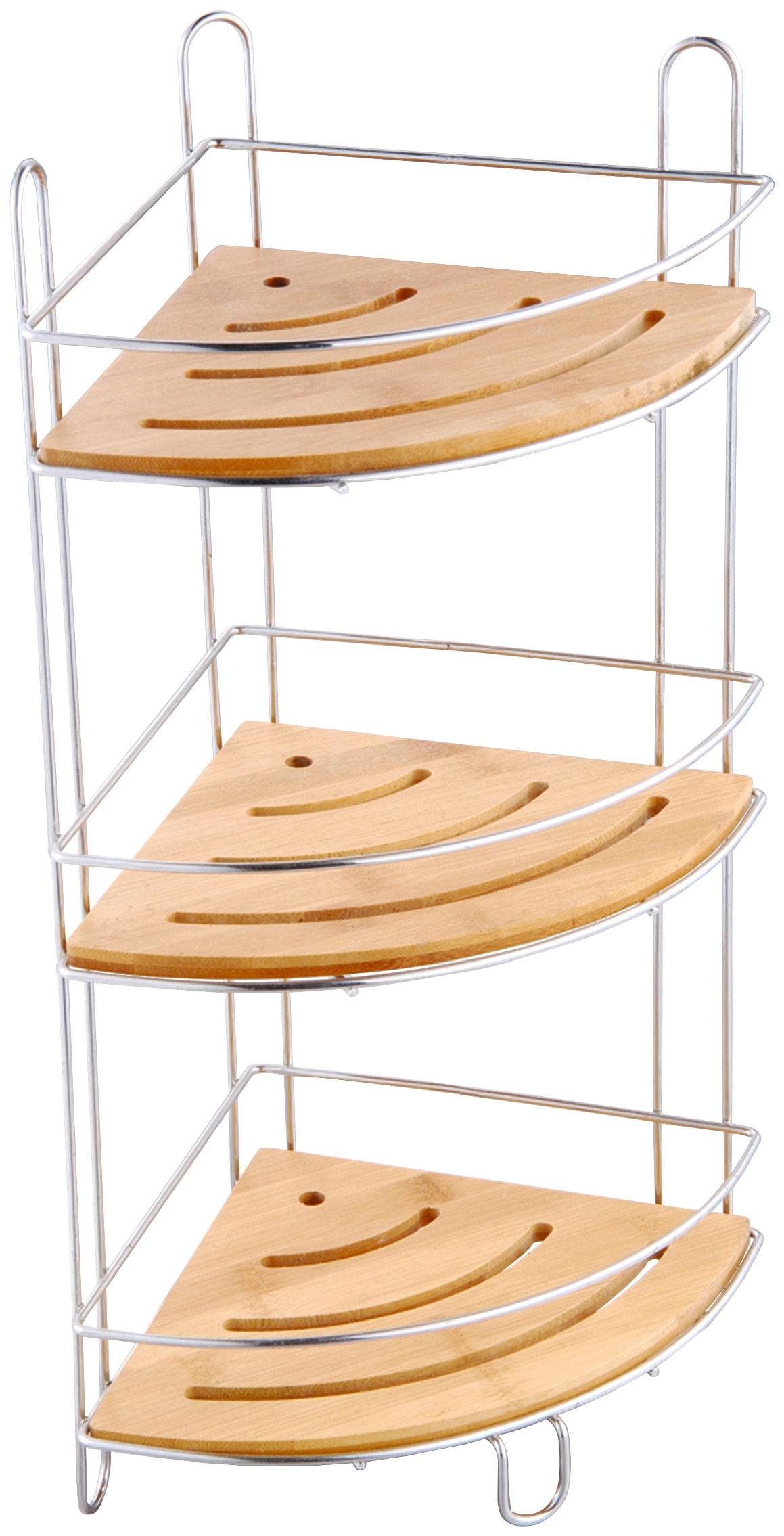 MSV Eckregal Standregal, 3 Ablagen, 19 x 48 cm braun Eckregale Regale