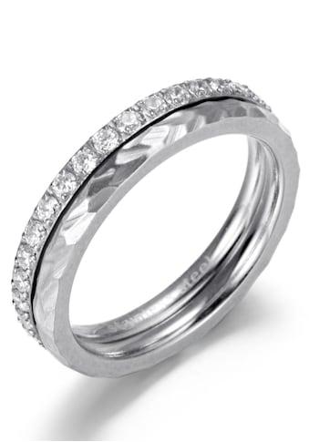 Firetti Ring - Set »4,0 mm, glänzend, matt, teilweise strukturiert, schlicht, zeitlos« (Set, 2 tlg.) kaufen