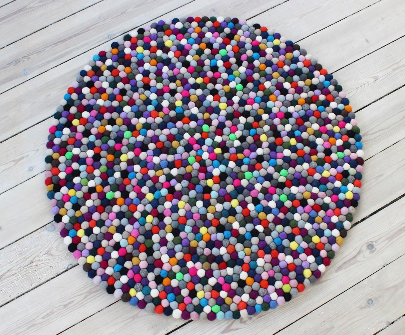 Wollteppich Mixed Color Wooldot rund Höhe 23 mm handgetuftet