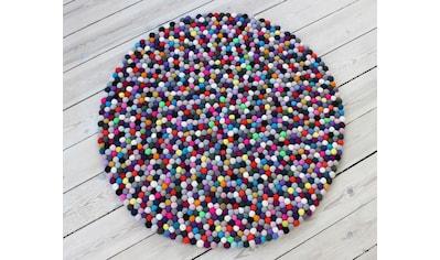 Wollteppich, »Mixed Color«, Wooldot, rund, Höhe 23 mm, handgewebt kaufen