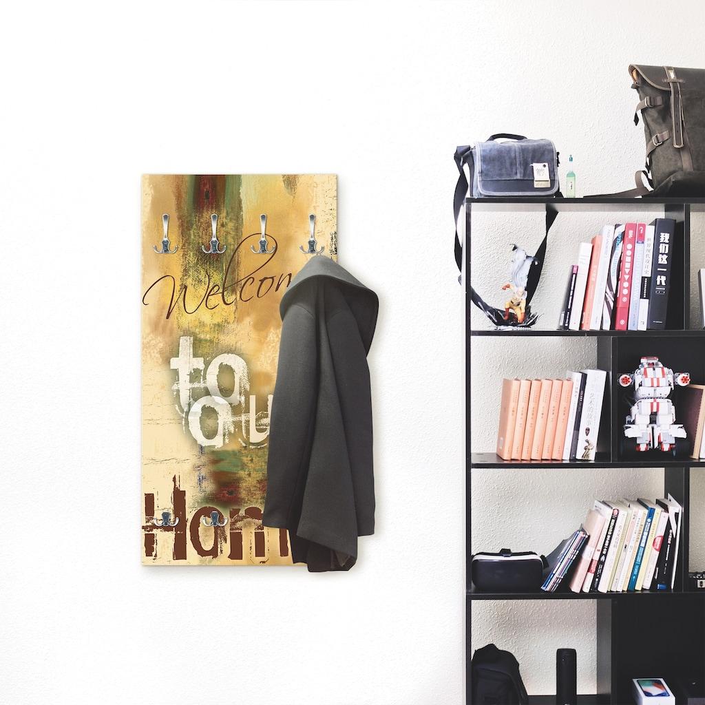Artland Garderobe »Willkommen in unserem Zuhause«, platzsparende Wandgarderobe aus Holz mit 6 Haken, geeignet für kleinen, schmalen Flur, Flurgarderobe