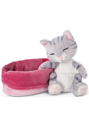 Nici Kuscheltier »Sleeping Kitties, Katze, 16 cm, grau«, mit pink-lila Körbchen kaufen
