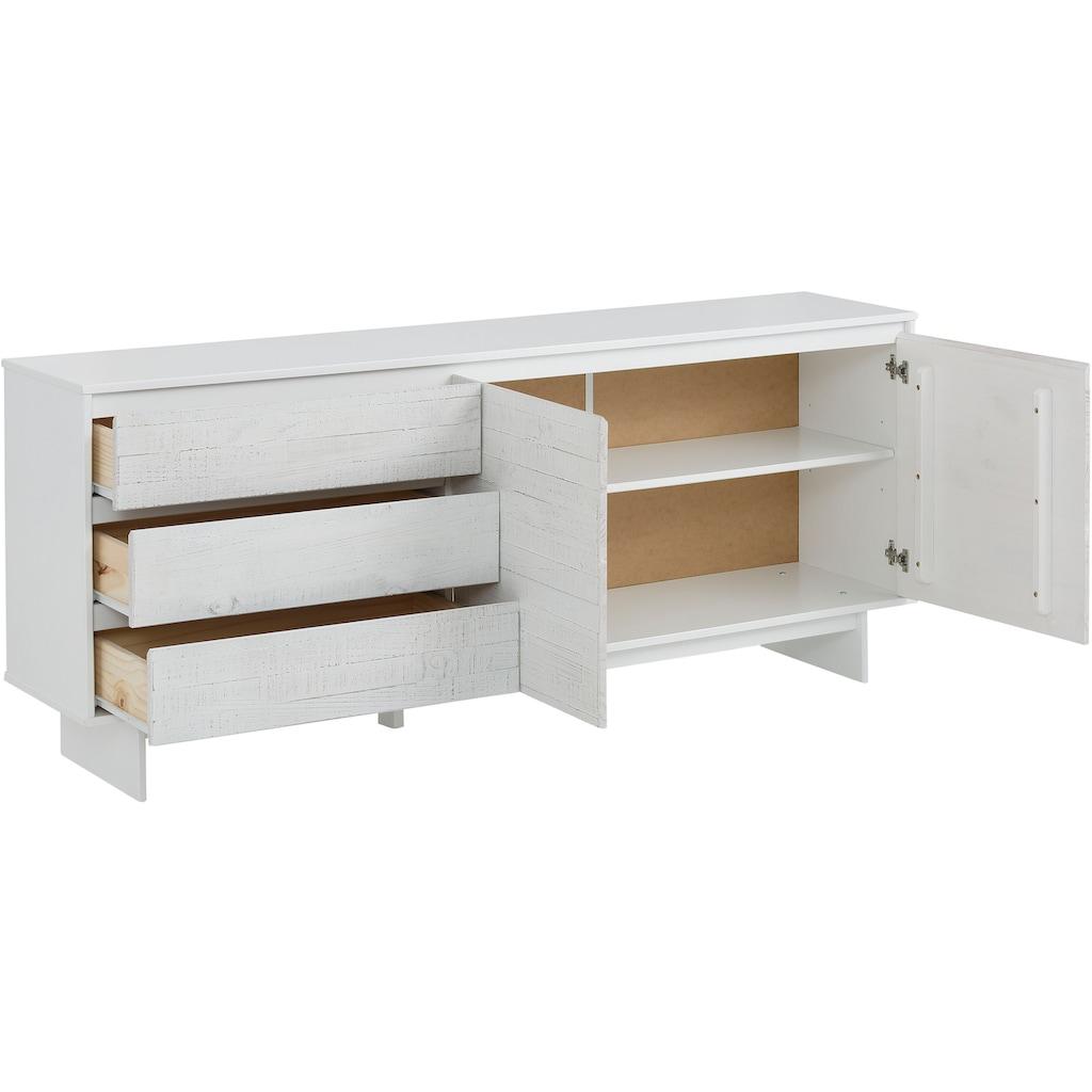 Home affaire Sideboard »Morgan«, aus massivem Kiefernholz, mit eingefrästen Griffmulden, Breite 165 cm