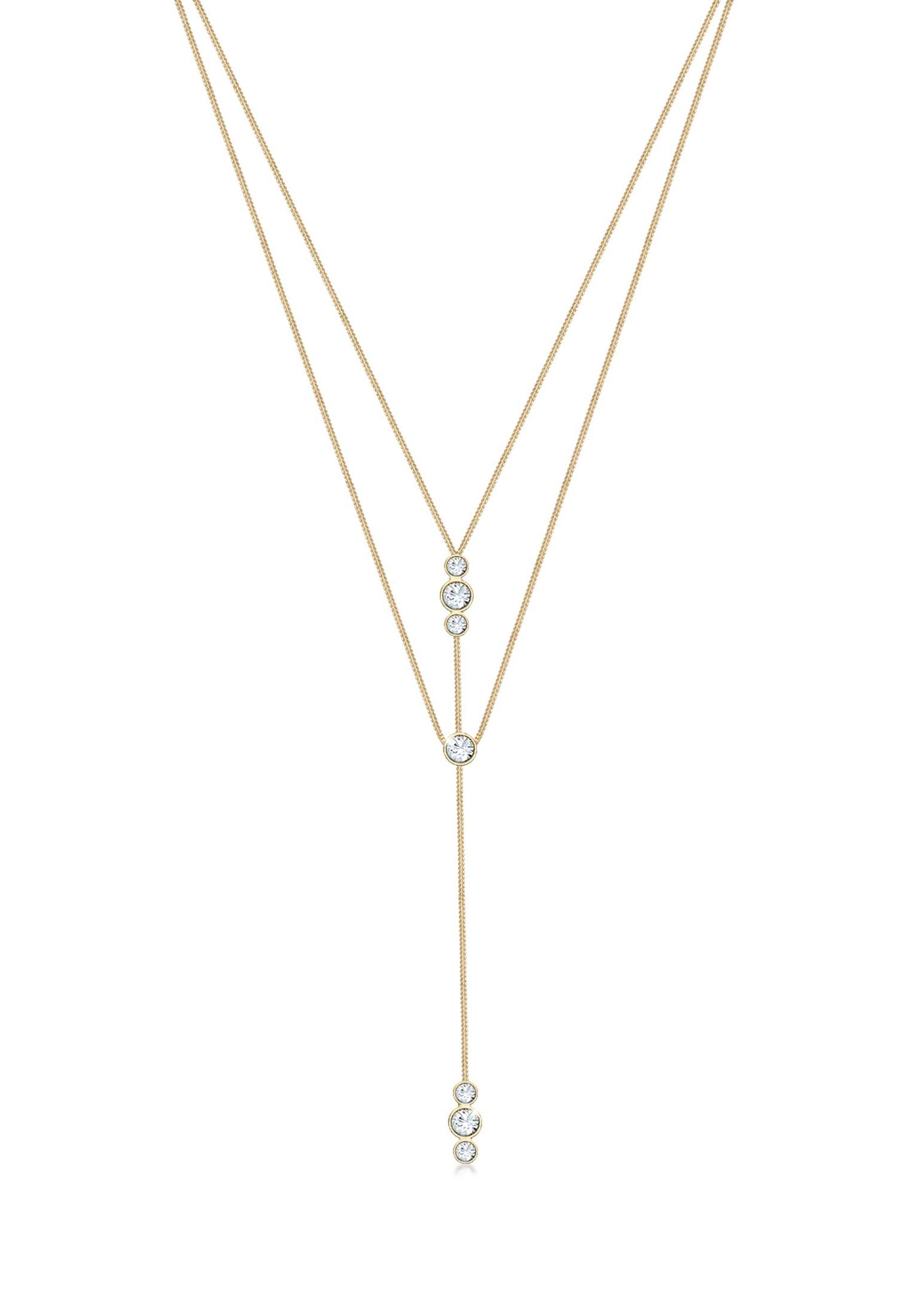 Elli Collierkettchen Y-Kette Layer und Swarovski Kristalle 925 Silber   Schmuck > Halsketten   Elli