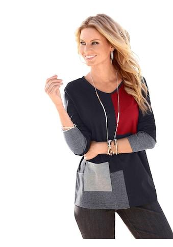 Classic Basics Longshirt mit verschiedenen Einsätzen im Vorderteil kaufen