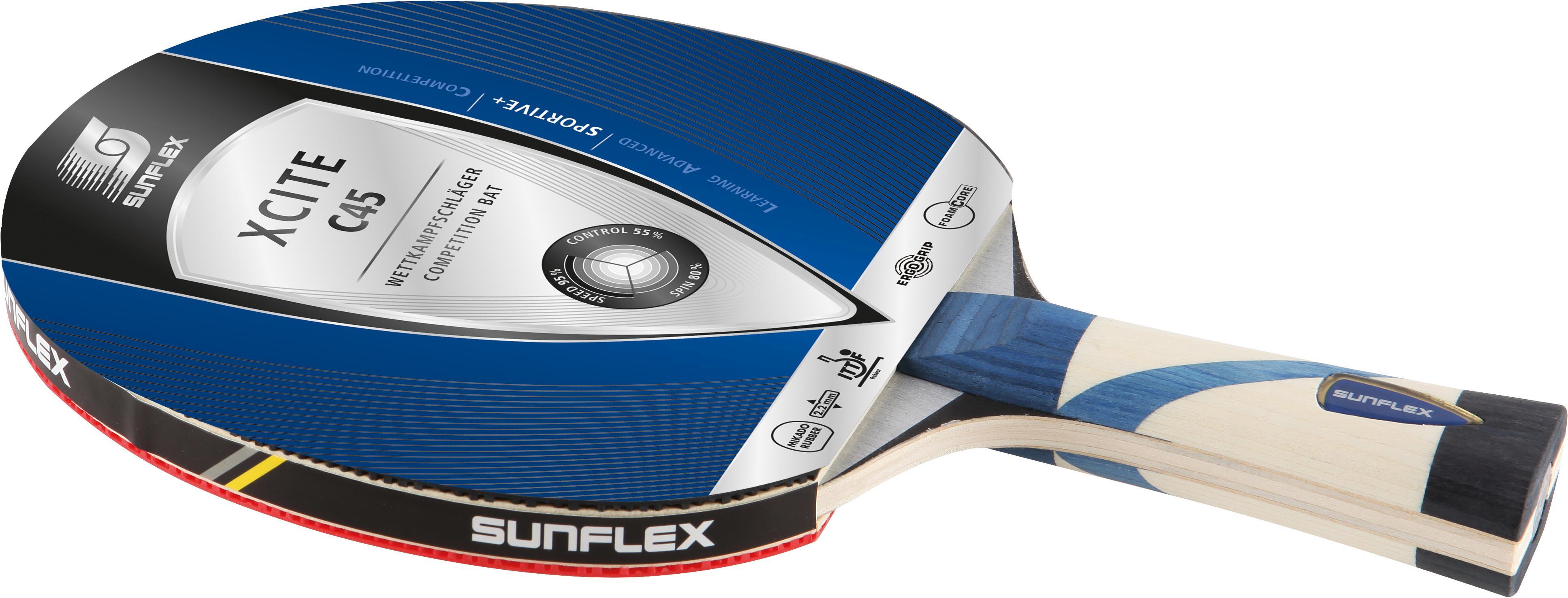 Sunflex Tischtennisschläger Xcite C45 blau Tischtennis-Ausrüstung Tischtennis Sportarten