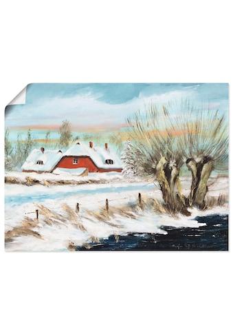 Artland Wandbild »Rotes Haus im Schnee«, Vier Jahreszeiten, (1 St.), in vielen Größen... kaufen