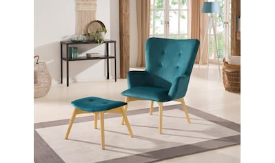 Home affaire Stuhl »New York«, mit Hocker, hellen Holzbeinen und Knopfheftung kaufen