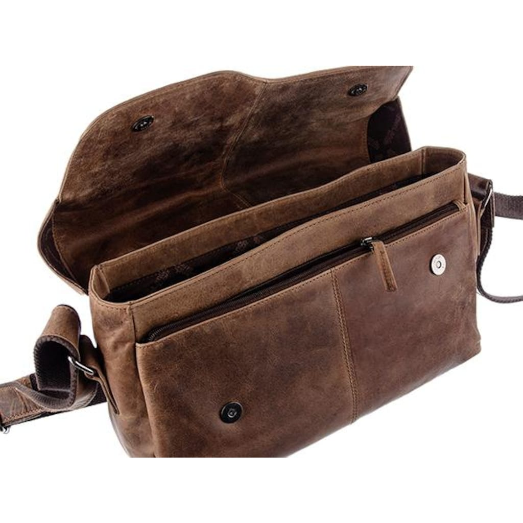GreenLand Nature Messenger Bag »Montana«, aus Büffelleder im Vintage Look