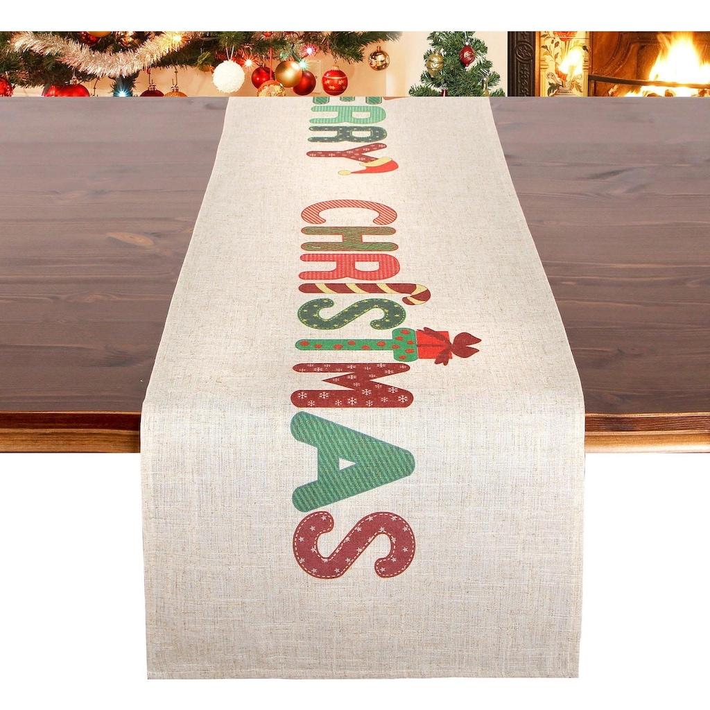 Tischläufer, »MERRY CHRISTMAS«, Delindo Lifestyle (1-tlg.)