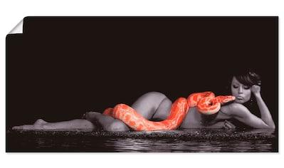 Artland Wandbild »Frau in Wasser liegend mit Python« kaufen