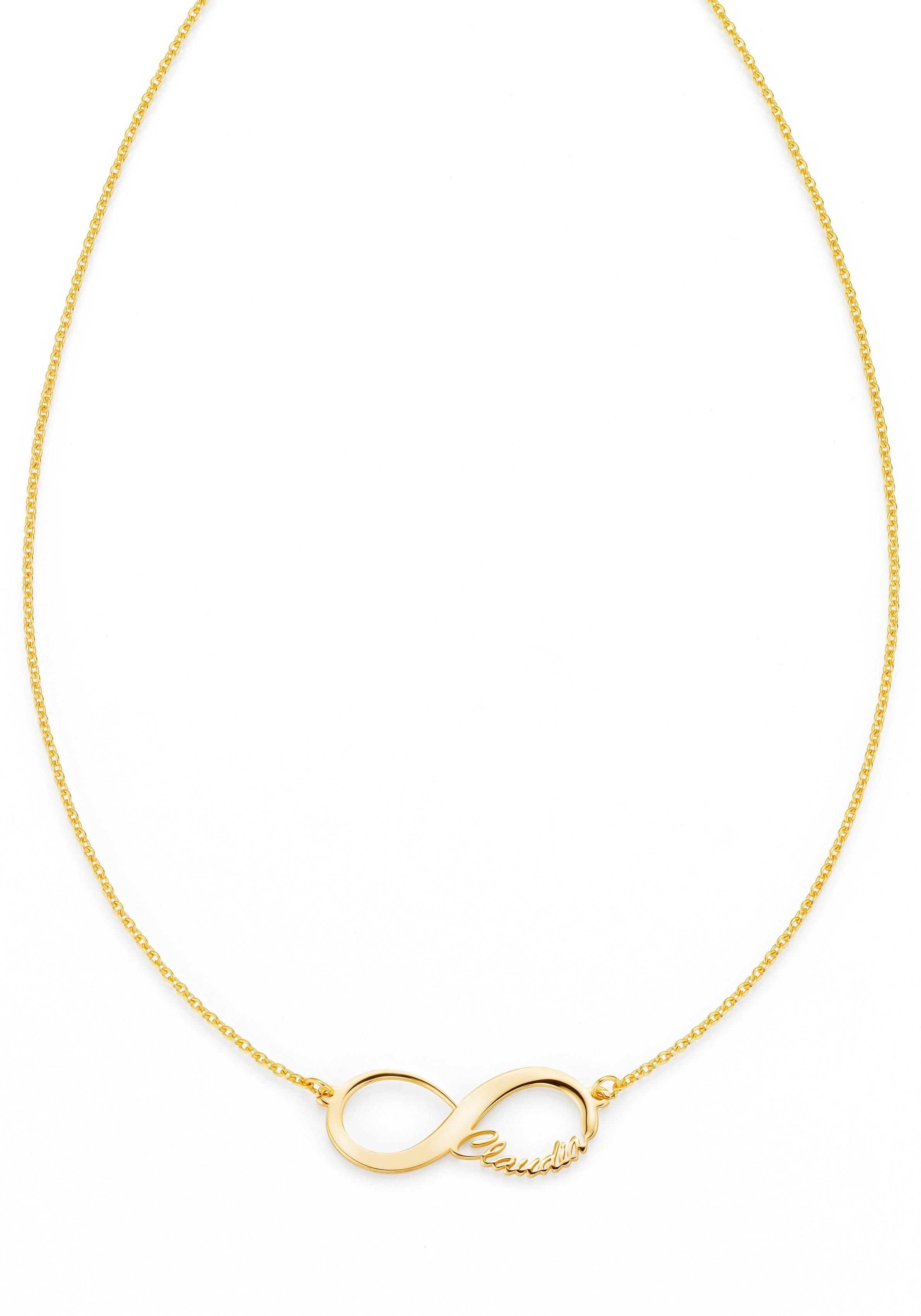 Firetti Namenskette Infinity Unendlichkeitsschleife - individuell mit Namen gestalten | Schmuck > Halsketten > Namensketten | Goldfarben | Firetti