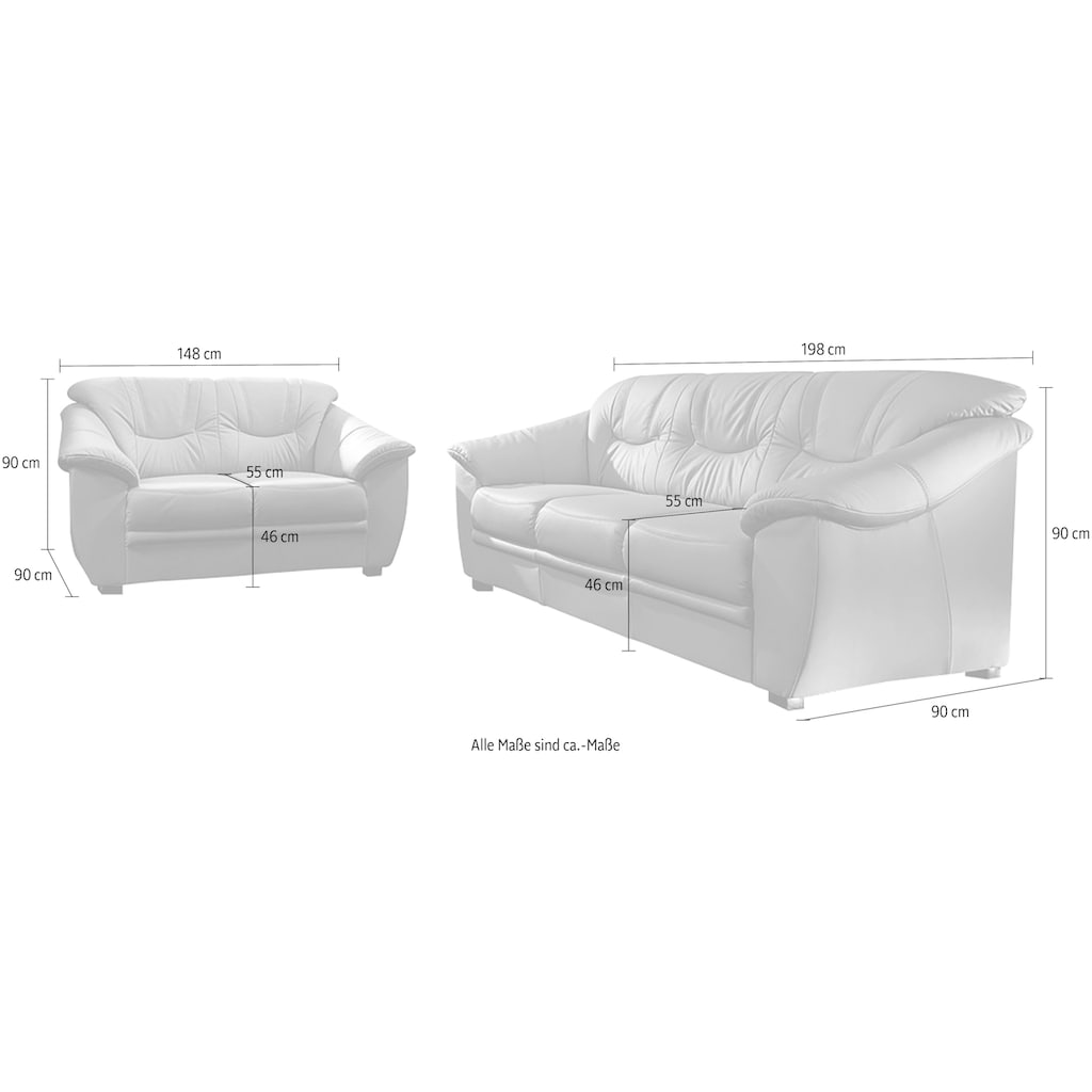 sit&more Polstergarnitur, (2-tlg.), bestehend aus je einem 2- und 3-Sitzer, inklusive Federkern