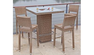 GARDEN PLEASURE Bar - Set »ALVITO«, 5 - tlg., 4 Barhocker, Tisch, Polyrattan kaufen