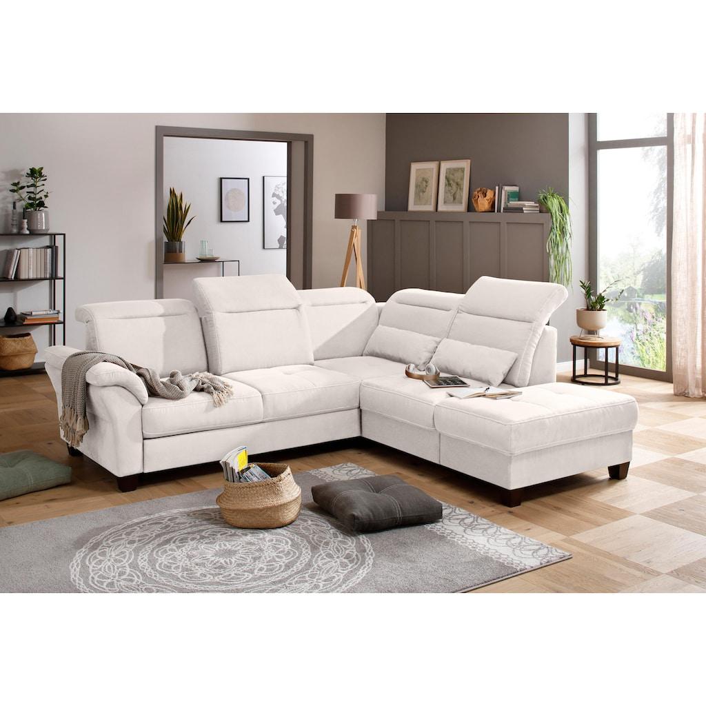 Premium collection by Home affaire Ecksofa »Solvei«, mit Ottomanenabschluß und Sitztiefenverstellung; wahlweise auch mit Kopfteilverstellung und Bettfunktion, Federkern