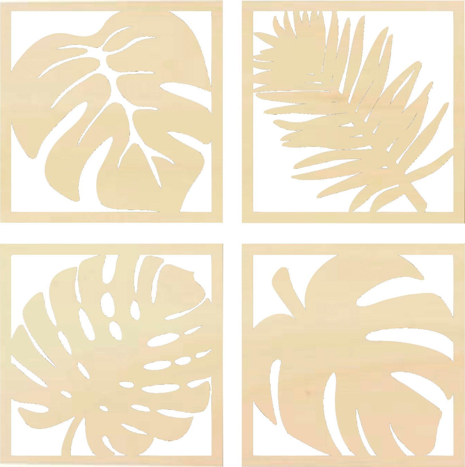 Wanddekoobjekt Pappel - Blätter Tropical Set   Dekoration > Wandtattoos > Wanddekoration