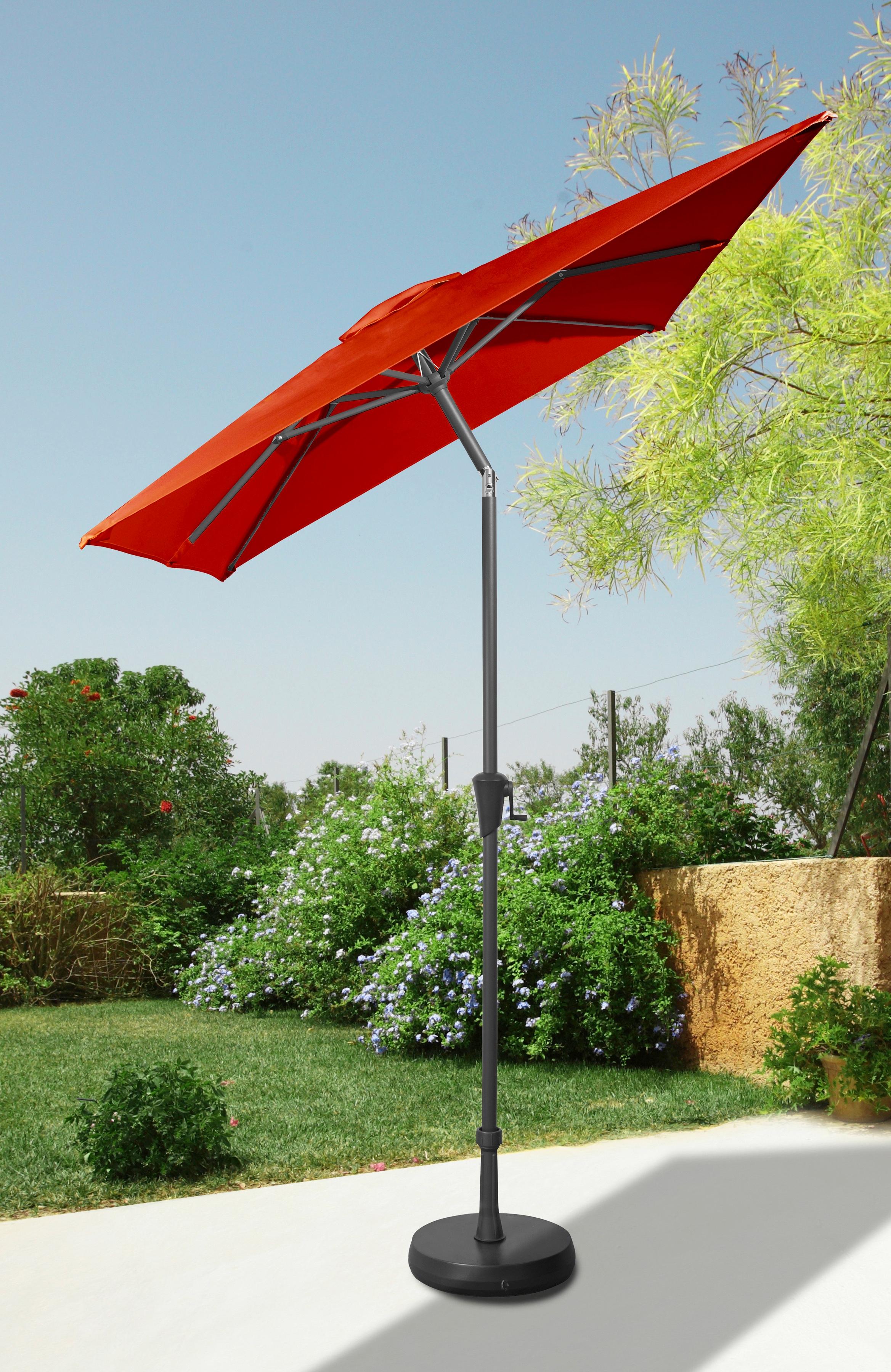 garten gut Sonnenschirm, abknickbar, ohne Schirmständer rot Sonnenschirme -segel Gartenmöbel Gartendeko Sonnenschirm