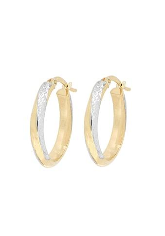 La Piora Paar Creolen »Classic«, mit Diamantschnitten, 375/- Gelbgold kaufen