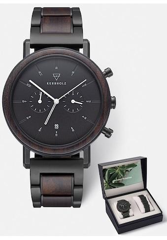 KERBHOLZ Chronograph »Johann Sandalwood Black Steel«, (Set, 2 tlg., mit Wechselband) kaufen