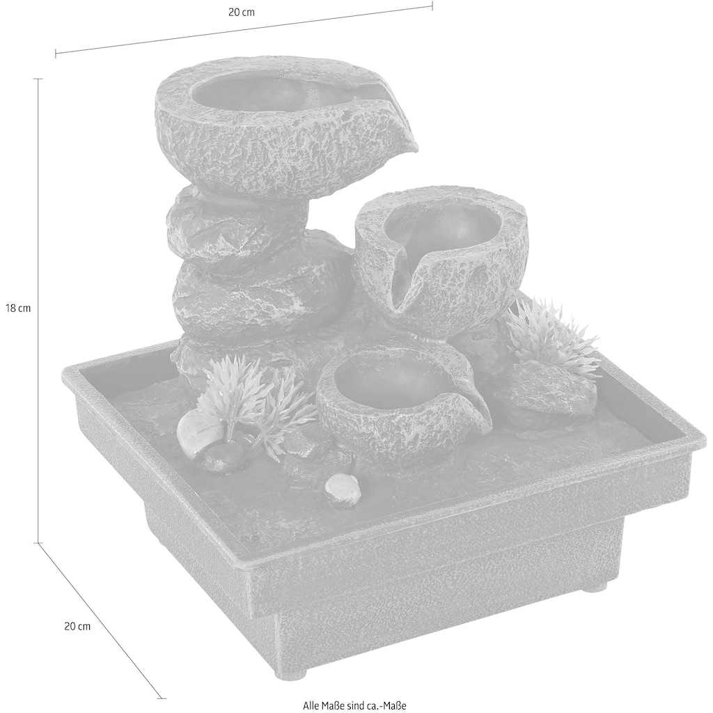 pajoma Zimmerbrunnen »Floating Stones«, Mit Netzbetrieb, Spannung:12 Volt, Netzteil 230 Volt, Kabellänge ca. 1,40 m, Pumpe lässt sich stufenlos verstellen