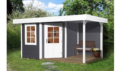 WEKA Set: Gartenhaus »Stellan 1«, BxT: 442x278 cm, mit Anbaudach kaufen