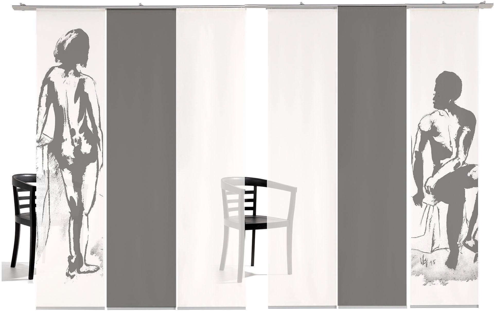 Schiebegardine emotion textiles Mann/Frau Farbig mit Klettband (6 Stück mit Zubehör)
