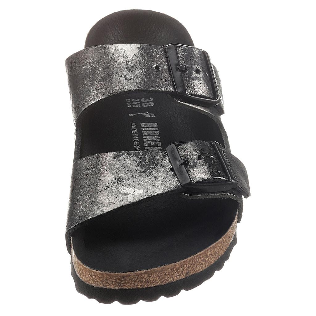 Birkenstock Pantolette »Arizona vintage metallic«, im Metallic-Look, aus Veloursleder
