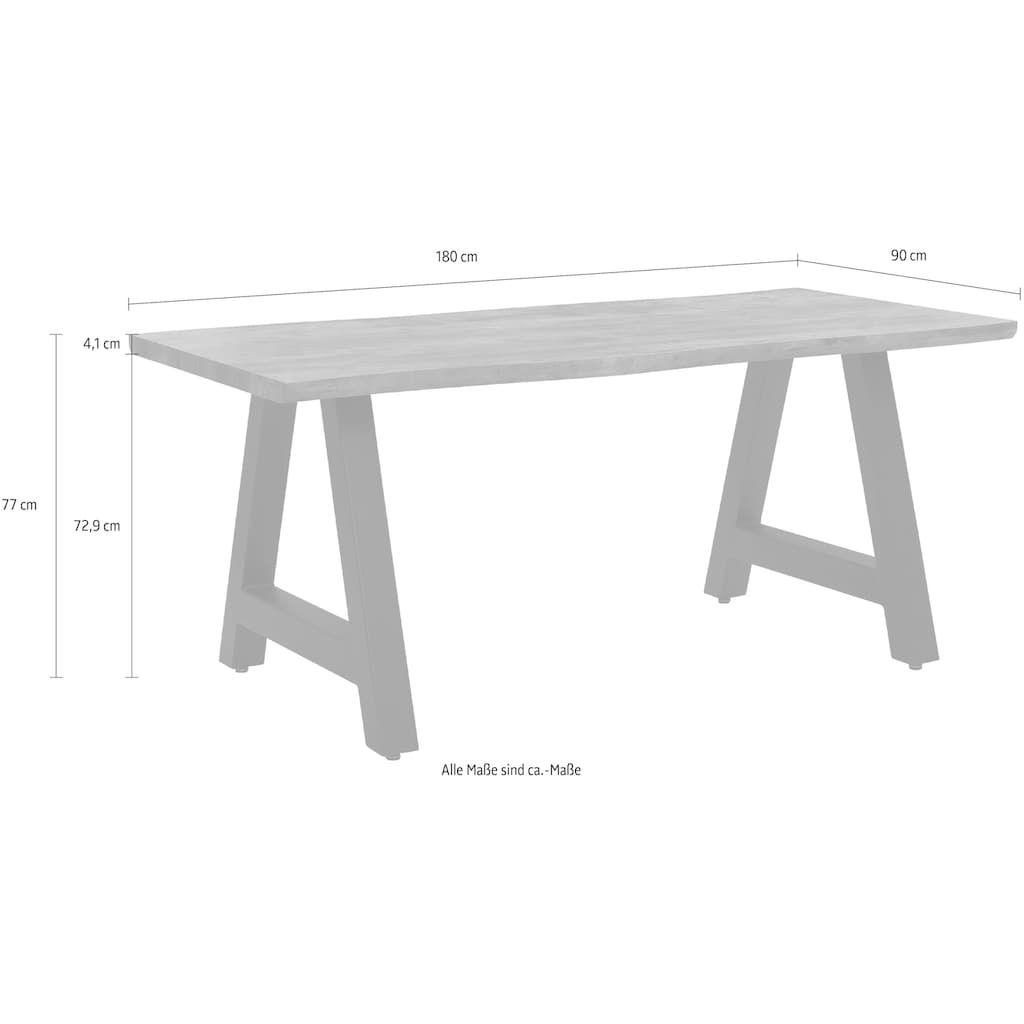 Home affaire Esstisch »Niebüll«, mit einem Metallgestell, Tischplatte in schöner Holz-Optik, in zwei verschiedenen Tischbreiten auswählbar