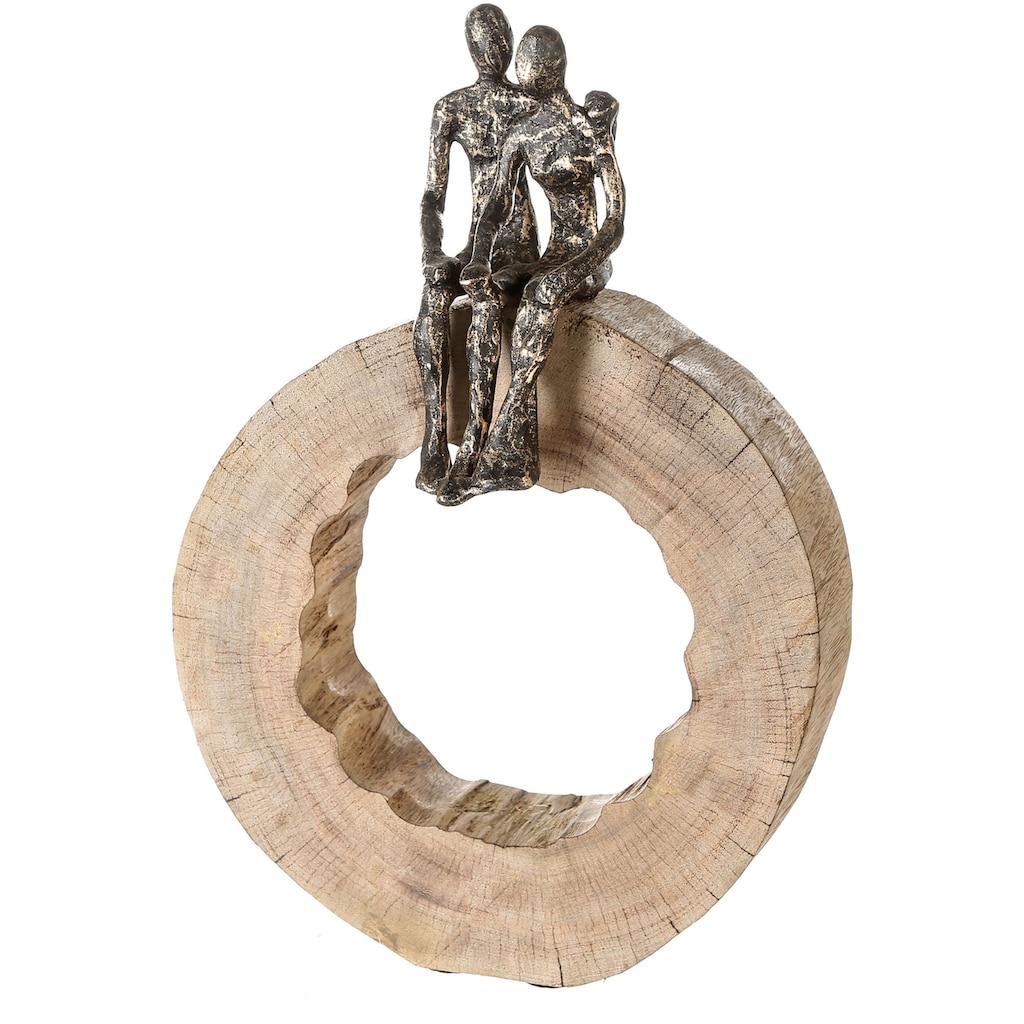 Casablanca by Gilde Dekofigur »Skulptur Together«, Dekoobjekt, Höhe 39 cm, aus Metall und Holz-Baumscheibe, Wohnzimmer