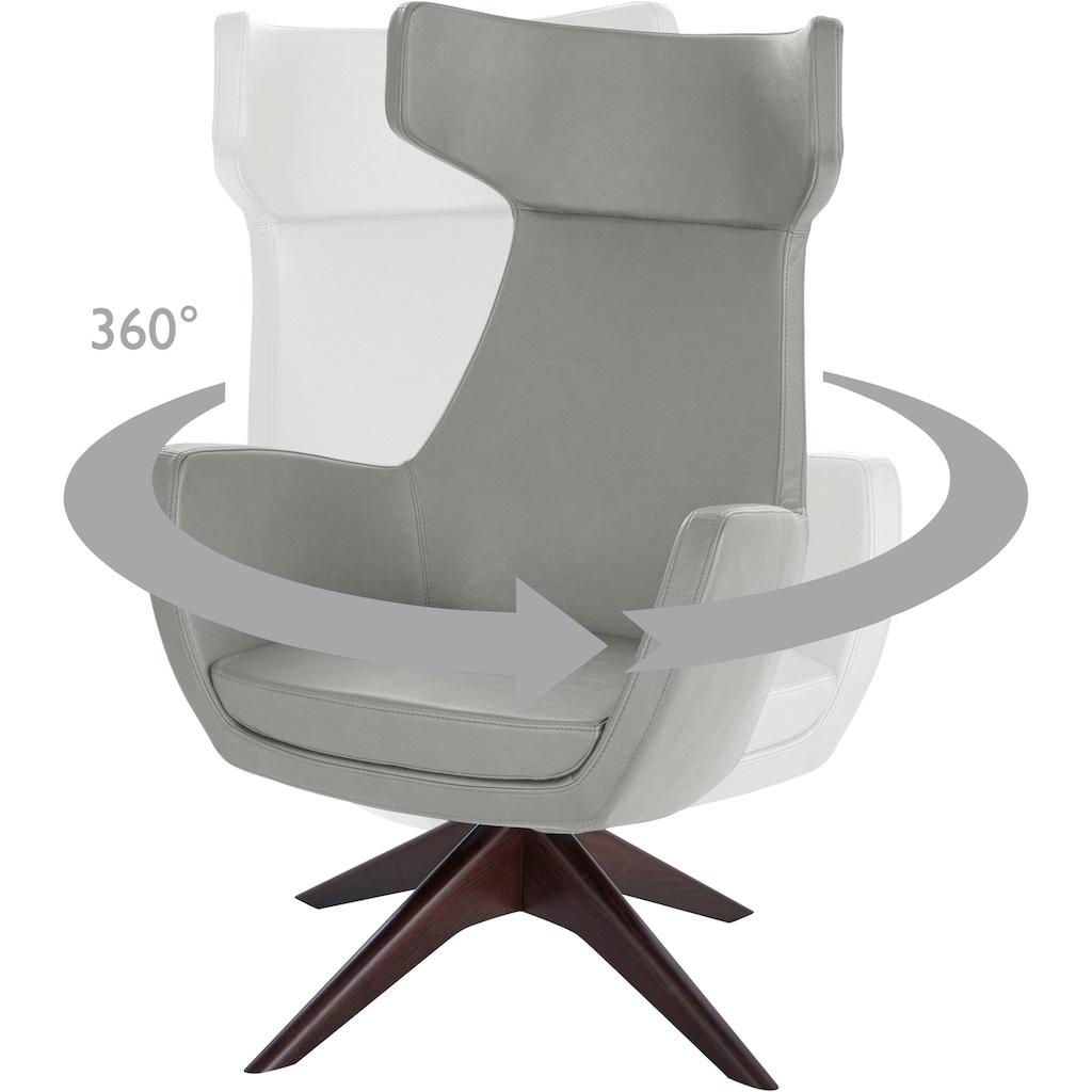 andas Drehstuhl »Alette«, mit Füßen aus massiver Esche, natur-oder wallnussfarben lackiert