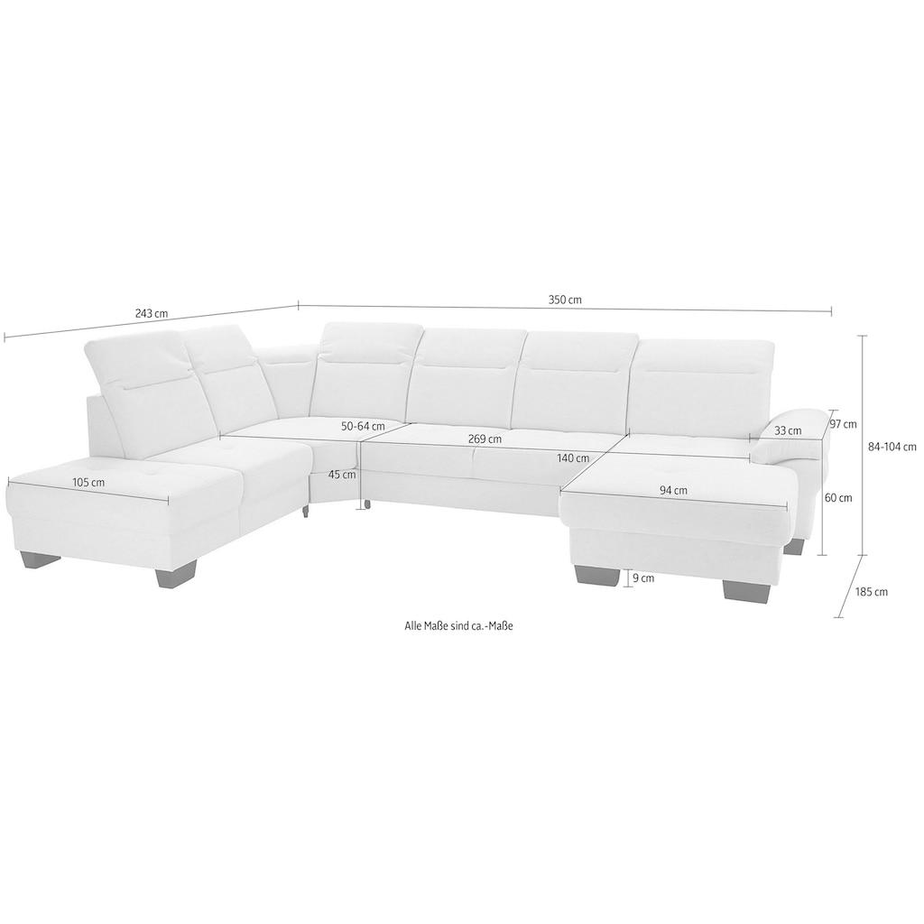 Places of Style Wohnlandschaft »Cornwall«, inkl. Sitztiefenverstellung, wahlweise mit Bettfunktion und Kopfteilverstellung, Federkern