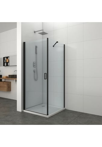 Duschwand »Elite Black «, Fixglas mit Alu - Profil, BxH: 88,5 - 89,5 x 195 cm kaufen