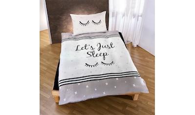 TRAUMSCHLAF Jugendbettwäsche »Let's just sleep«, mit schönem Schriftzug und Sternen kaufen