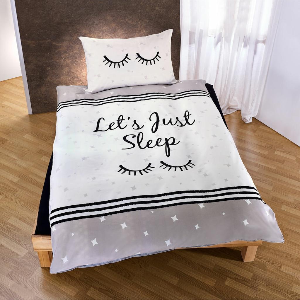 TRAUMSCHLAF Jugendbettwäsche »Let's just sleep«, mit schönem Schriftzug und Sternen