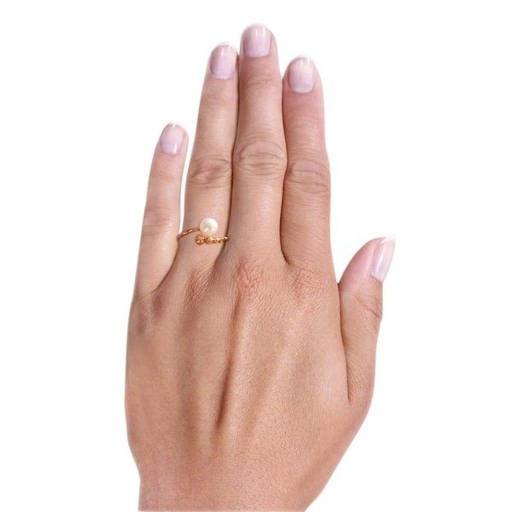 goldmaid Perlenring, 585/- Rotgold 1 weiße Zuchtperle 7-7,5 cm