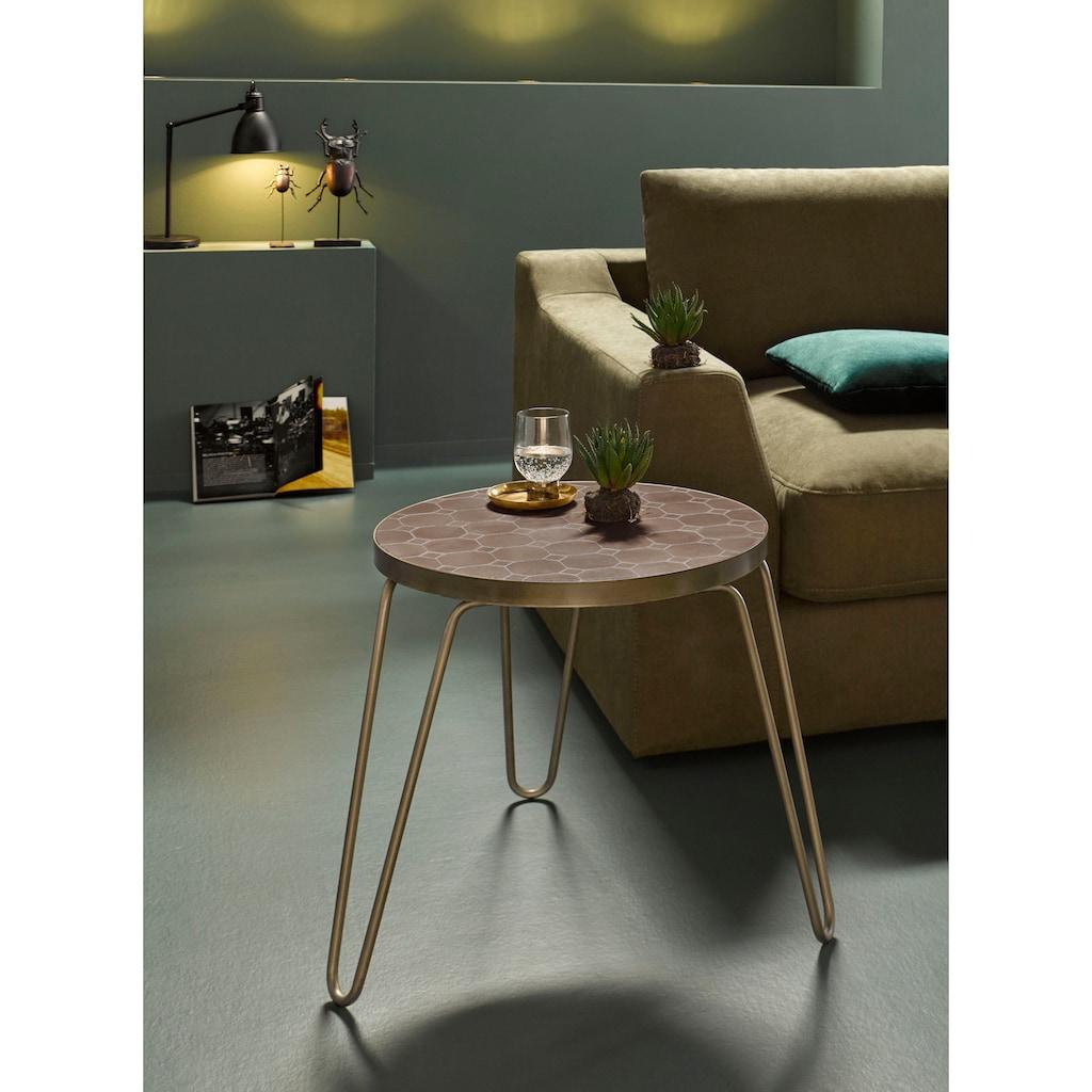 INOSIGN Beistelltisch »Steph«, aus einem schönen gebürsteten Metallbeingestell und einer Mosaik Tischplatte im Metall-Look