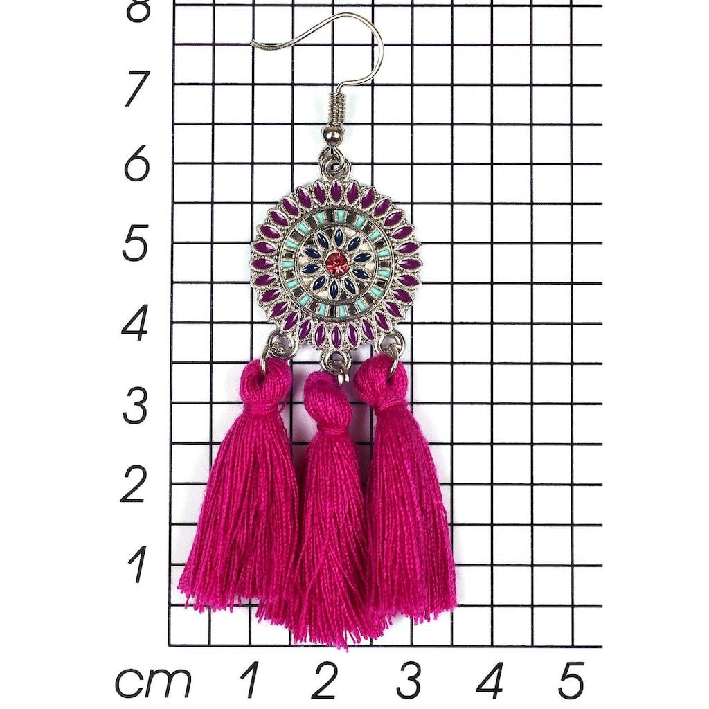 J.Jayz Paar Ohrhaken »runde Ornamente mit Quasten«, mit Glassteinen