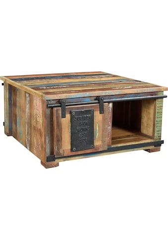 SIT Couchtisch »Jupiter«, aus recyceltem Altholz, mit Schiebetüren, Shabby Chic, Vintage, quadratisch kaufen