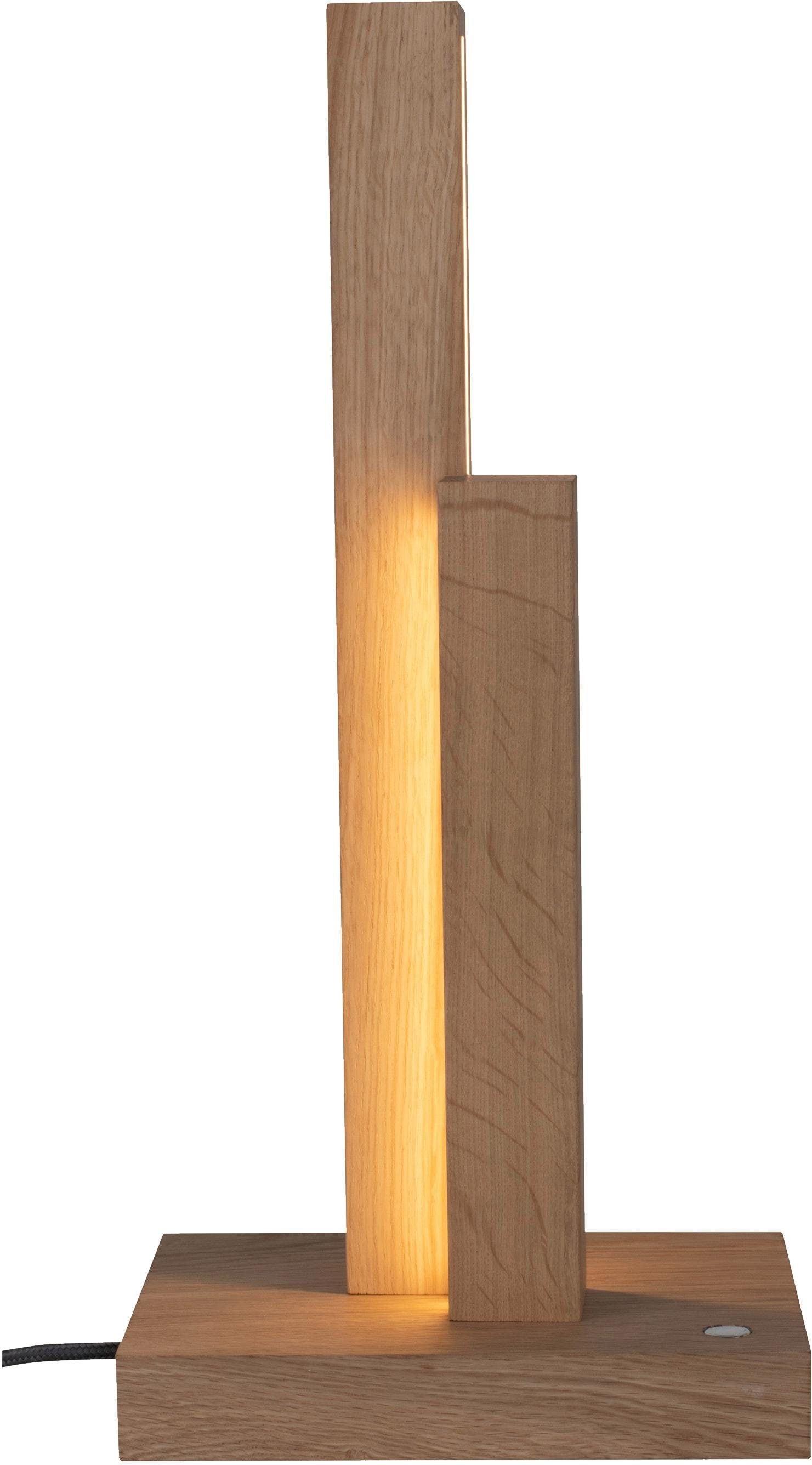 SPOT Light Tischleuchte MANHATTAN, LED-Modul, Neutralweiß, mit integriertem 24V-LED-Modul, mit Touch Dimmer und Textilkabel, aus edlem Eichenholz, Naturprodukt FSC-zertifiziert, Made in Europe