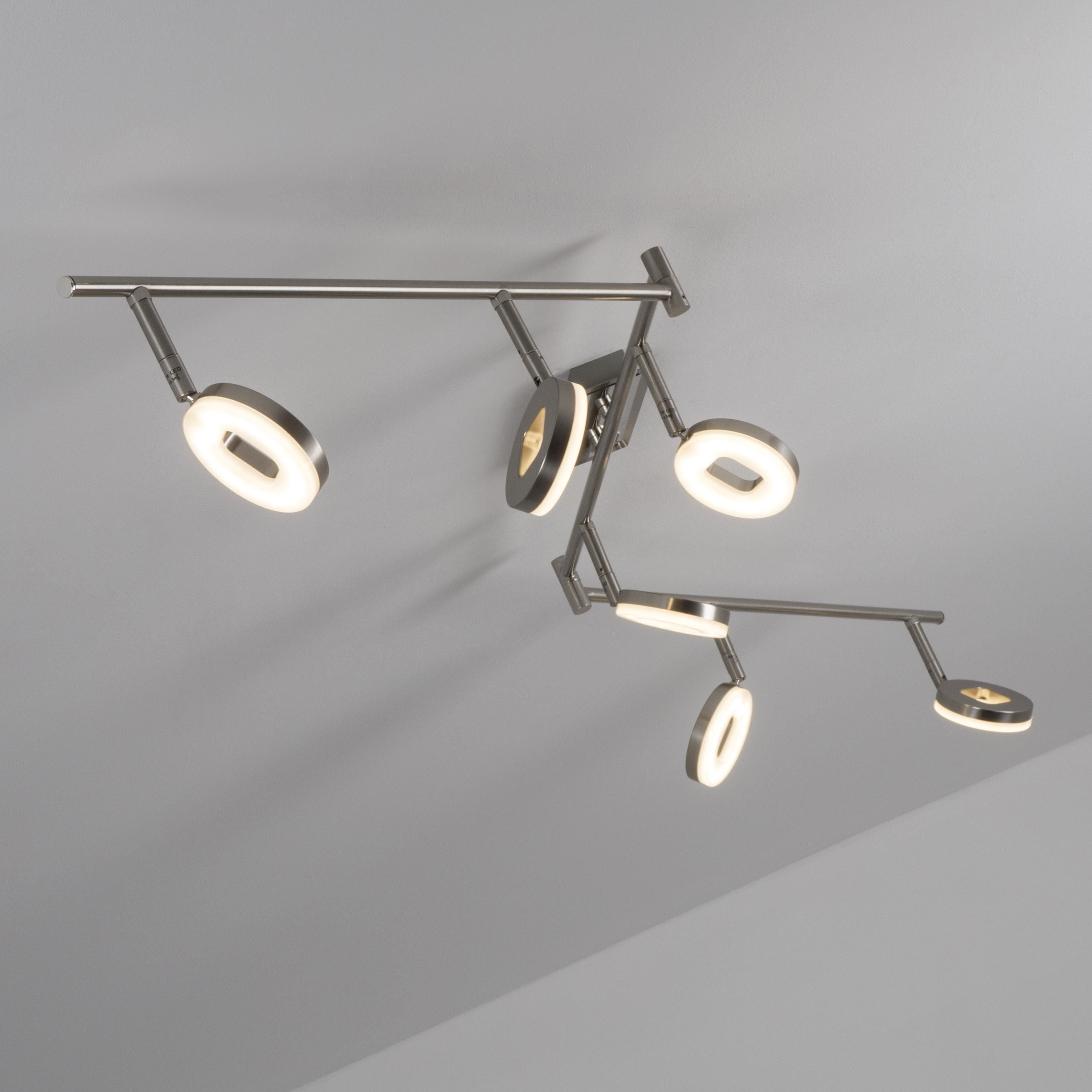 SPOT Light Deckenleuchte EASYFIX, Warmweiß, LED-Leuchtmittel integriert, Sehr lang mit 178cm, Flexibel einstellbar mit beweglichen Köpfen.